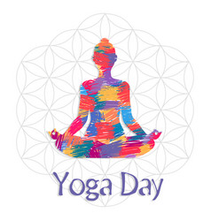 Yoga day card abstract art woman in lotus pose vector