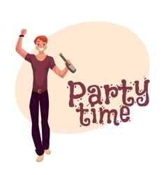 Young man dancing with beer bottle at party night vector