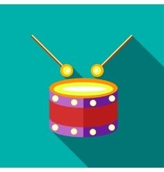 Children s toy drum on blue-green background vector image