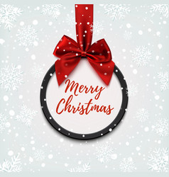 Merry Christmas black round banner vector image vector image