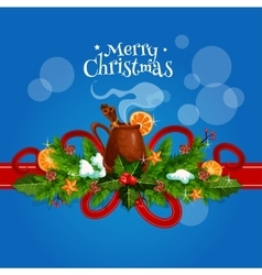 Merry Christmas card with mulled wine vector image vector image