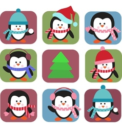 set of holiday penguins vector image