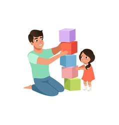 smiling dad playing cubes with his daughter vector image vector image