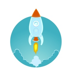 Space rocket flying in sky flat design colored vector image