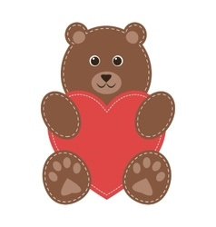 cartoon teddy bear with red heart vector image