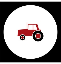 simple red tractor car isolated icon eps10 vector image