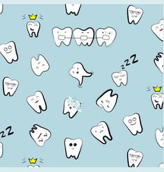 teeth pattern tooth dental cartoon kids vector image