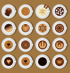 coffee cups top view collection vector image