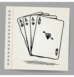 Doodle Sketch Of 4 Aces vector image
