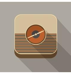 Flat long shadow radio icon vector image