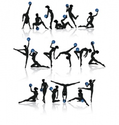 gymnast girl collection vector image vector image