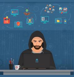 hacker man hacking secret data on the laptop icon vector image
