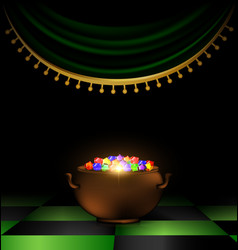 pot of gems in the dark vector image vector image