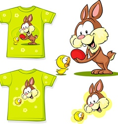 shirt with cute easter design - bunny an chicken vector image vector image