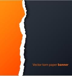 Orange torn paper with drop shadows on dark vector image
