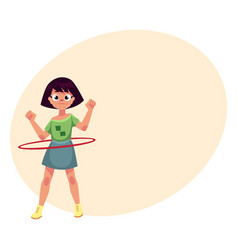 teenage caucasian girl spinning playing with hula vector image