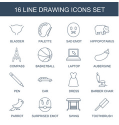16 drawing icons vector