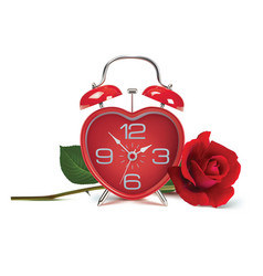 alarm clock and rose on white realistic 3d vector image