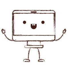 Animated kawaii desktop computer in monochrome vector