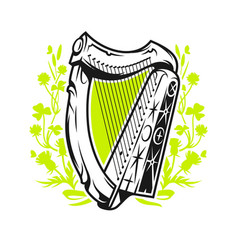 Antique irish harp vector