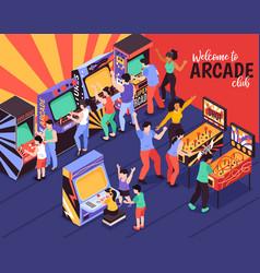 Arcade club isometric background vector