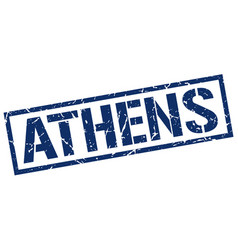 Athens blue square stamp vector