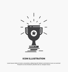 award trophy prize win cup icon glyph gray symbol vector image