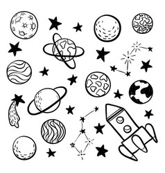 big set of hand drawn doodle space elements space vector image