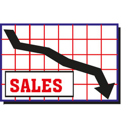black moving down arrow financial chart vector image