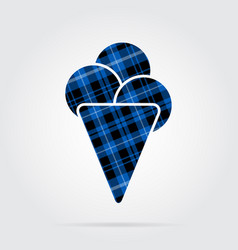 Blue black tartan icon - ice cream with scoops vector