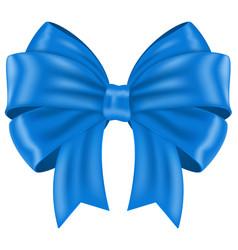 blue ribbon bow shiny 3d symbol vector image