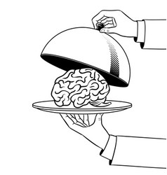 brain on dish with cloche coloring book vector image