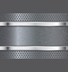 Brushed metal background with perforation vector