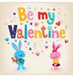 Bunnies in love Valentines day retro card vector