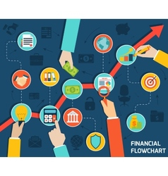 business hands financial flowchart vector image