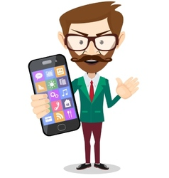 Businessman is holding in his hand Smartphone vector image