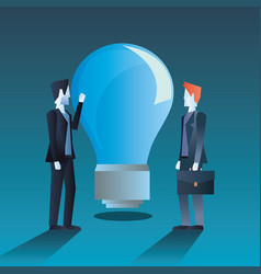 businessmen team colleagues with bulb idea vector image