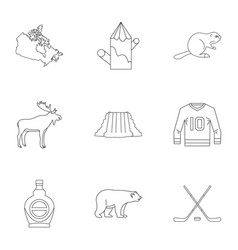 Canadian symbols icon set outline style vector