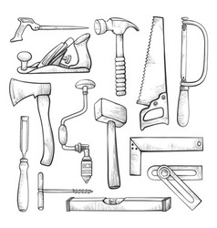 Carpentry professional tools hand drawn vector