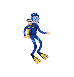 Cartoon man character in special diving costume vector