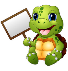 cartoon turtle holding blank sign vector image