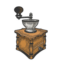 Coffee grinder color sketch vector