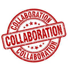 Collaboration red grunge stamp vector