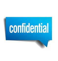 Confidential blue 3d realistic paper speech bubble vector
