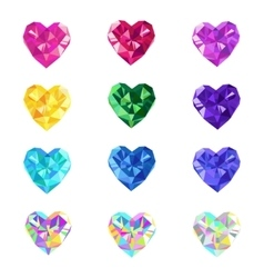 Crystal jewel isolated hearts vector