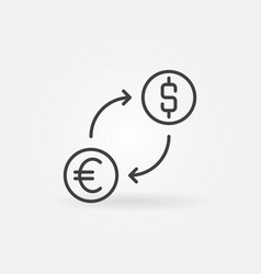 Currency exchange usd and eur outline concept vector