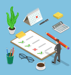 Customer satisfaction review isometric flat vector