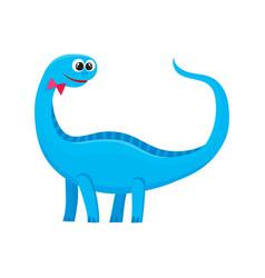cute and funny smiling baby brontosaurus dinosaur vector image