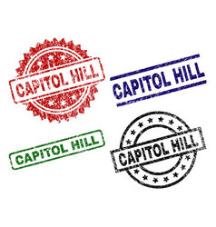 Damaged textured capitol hill stamp seals vector