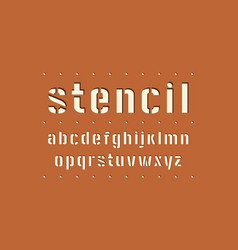 Decorative lowercase stencil-plate sans serif font vector